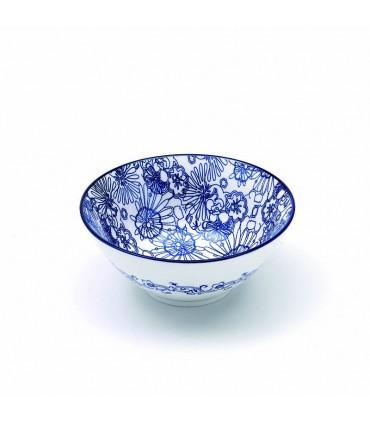 Set  6 Rhapsody flat porcelain plates blue rhombus