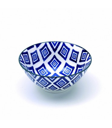 Set  6 Rhapsody porcelain small bowl blue rhombus