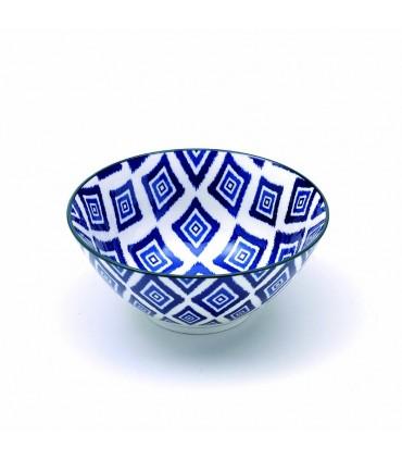 Set 6 bowls Rhapsody piccole in porcellana fantasia rombi blu