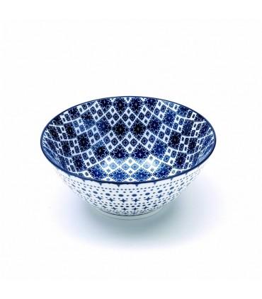 Set 6 bowls Rhapsody piccole in porcellana fantasia quadratini blu