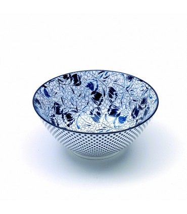 Set  6 Rhapsody porcelain medium bowl blue tulips