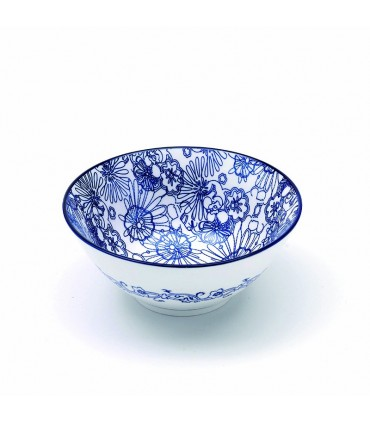 Set  6 Rhapsody porcelain medium bowl blue flowers