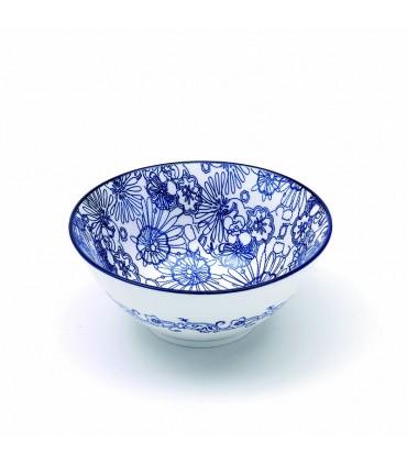 Set 6 bowls Rhapsody medie in porcellana fantasia floreale blu