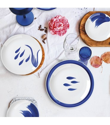 Mix & Match - BLUE/TAUPE- Set of 4 deep plates in stoneware