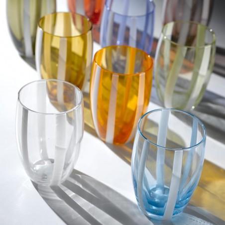 Tumbler glass Losanghe mixed colors set of 6 pieces