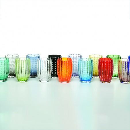 Set 8 Tumbler glass Bon Bon white assorted colours